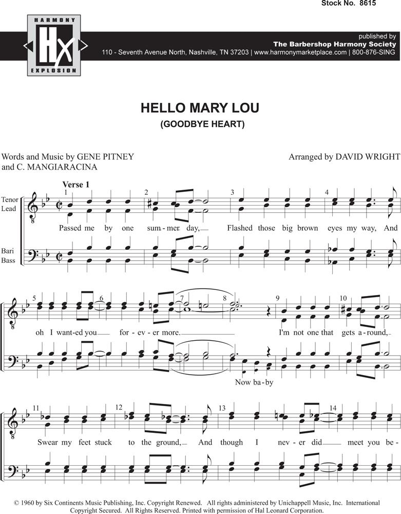 All Music Chords hello sheet music : Top Charts | Barbershop Harmony Society