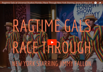 Ragtime Gals welcome guests to Race Through New York with Jimmy Fallon at Universal Studios