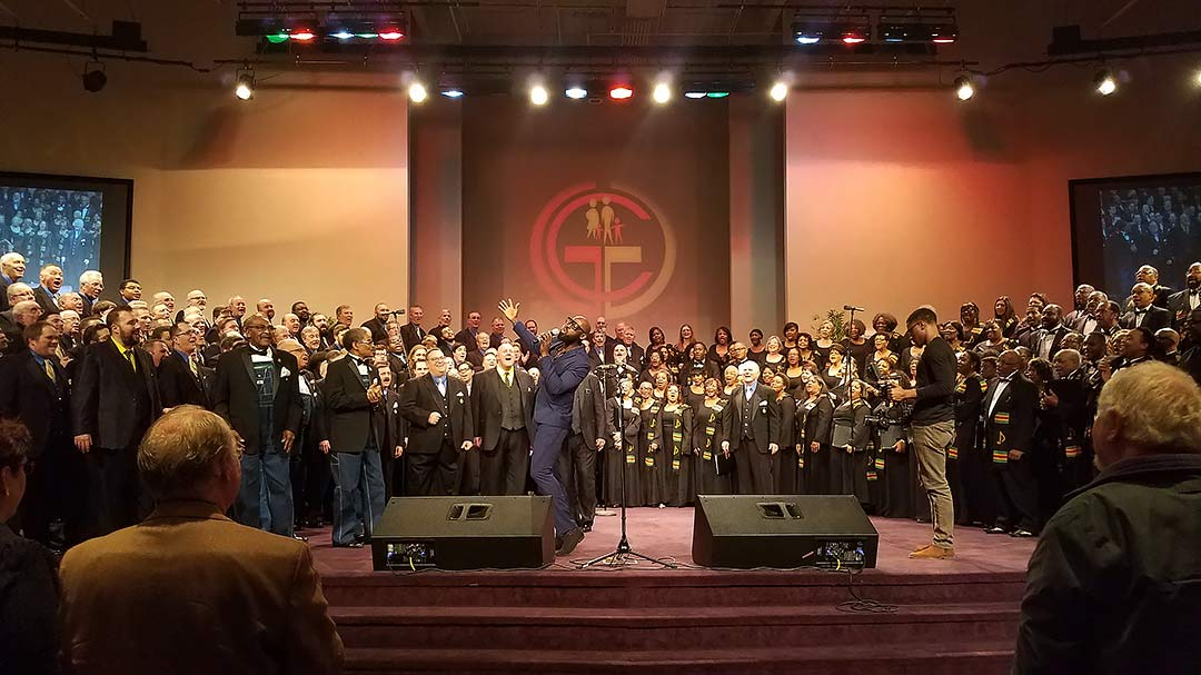 "MARCH 3, 2017, FERGUSON, MO. The Ambassadors of Harmony and IN UNISON ensembles share the stage for an impactful version of Sam Cooke's ""A Change is Gonna Come,"" led by Brian Owens, Crossroads and The Fairfield Four."